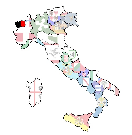 map of italy with aosta valley region