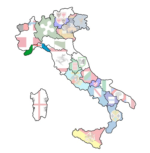 map of italy with liguria region