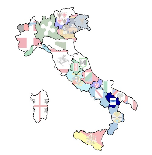 map of italy with basilicata region