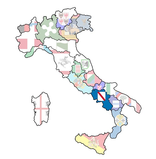 map of italy with campania region