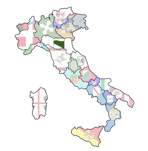 map of italy with emilia romagna region