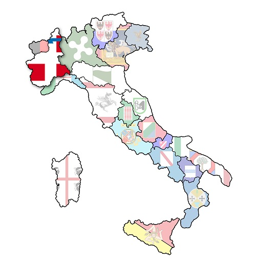 map of italy with piedmont