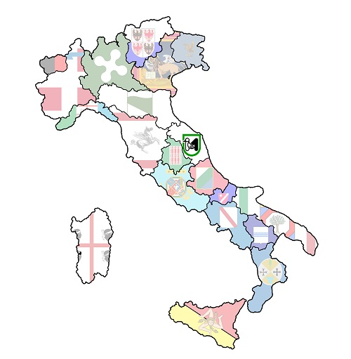 map of italy with marche region
