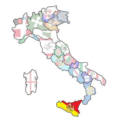 map of italy with sicilyregion